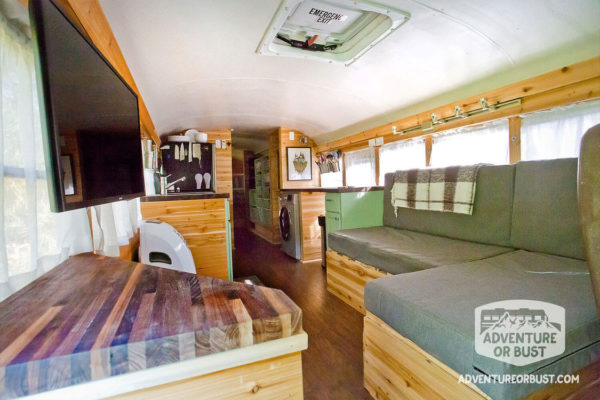 sofa sleeper bed frame transitional sofas adventure or bust school bus conversion: tour!