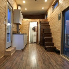Triple Sink Kitchen Kohler Farmhouse Cannon Tiny House With Fold Down Porch