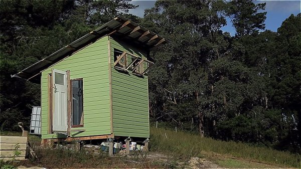 Couple Build 67 Sq Ft Tiny House for 420 using Reclaimed Materials via Happen Films 001