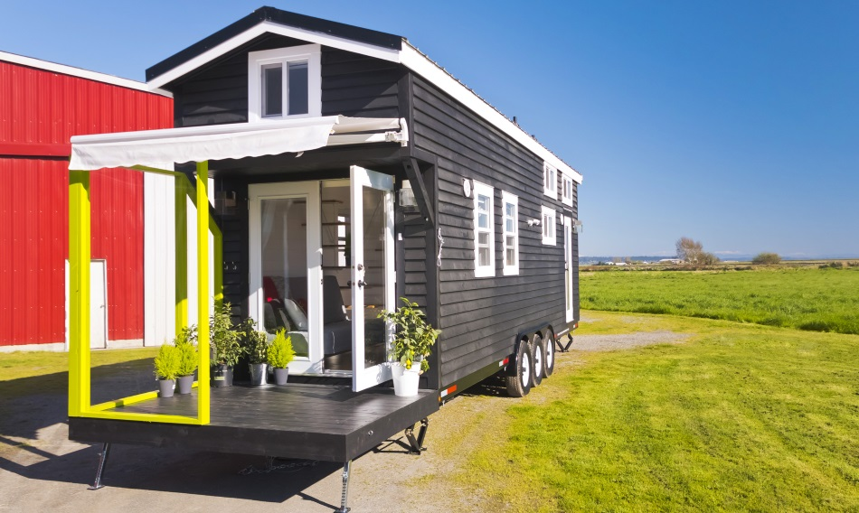 Mint tiny house with built in patio for Companies that build houses