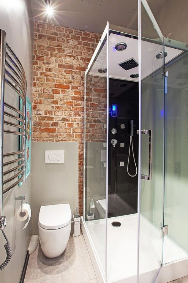 Full Shower in Modern Micro Apartment