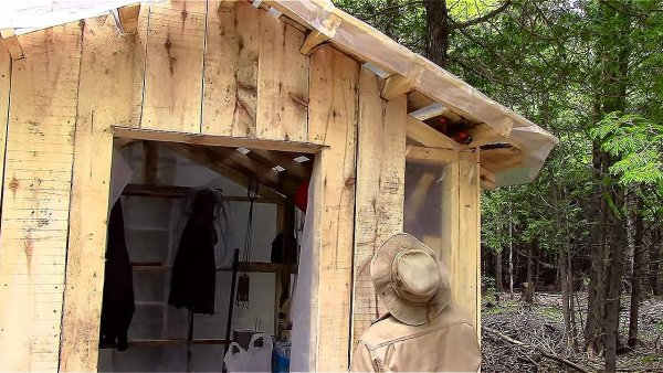 Father and Son Build 160 Dollar Bunkhouse Cabin 0013