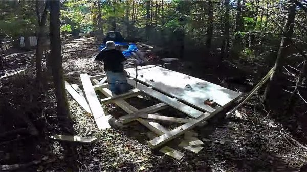 Father and Son Build 160 Dollar Bunkhouse Cabin 007