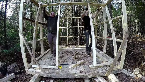 Father and Son Build 160 Dollar Bunkhouse Cabin 008