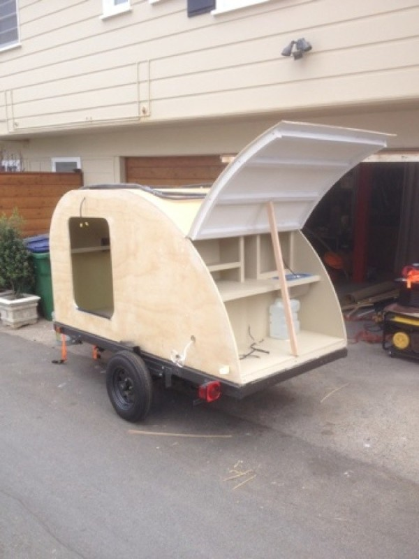 how to build a kitchen cabinet colorful chairs man builds $2k military style teardrop trailer