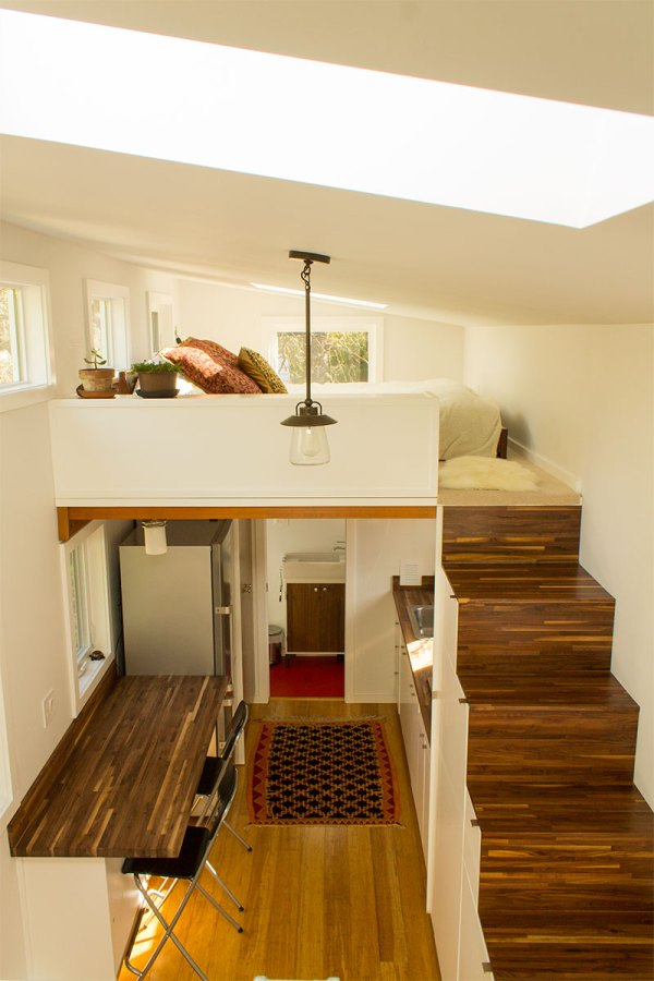 Hikari Box Tiny House Interior From Guest Loft from Shelter Wise and PAD Tiny Houses