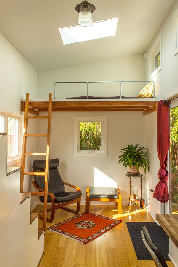Hikari Box Tiny House Living Area and Guest Loft from Shelter Wise and PAD Tiny Houses