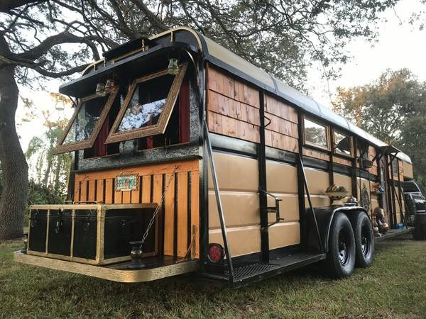 Horse Trailer to Gypsy Wagon Tiny House Conversion in Naples FL_007