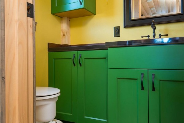 Jerry and Rene Slide Out Tiny House Bathroom