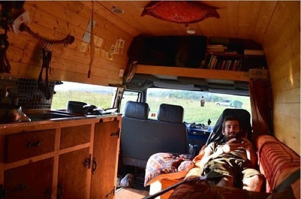 Man Converts Cargo Van to Travel Around Europe