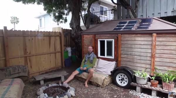 Man Simplifies into Off-Grid Micro Cabin Life in California 001