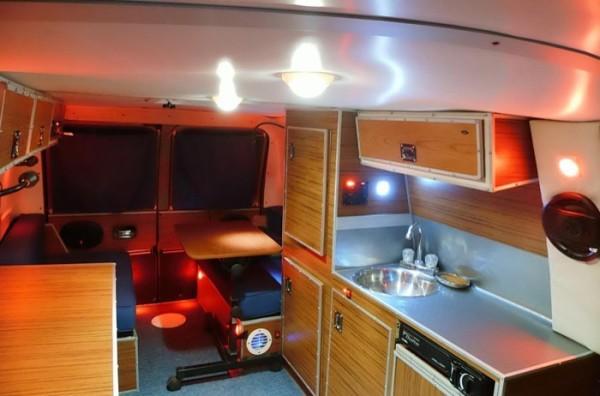 mobile home kitchen sink under cabinet lighting options man's diy stealth camper van with a office inside