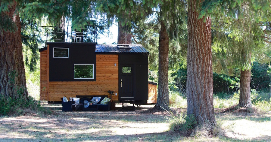Modern Tiny House On Wheels With A Rooftop Balcony