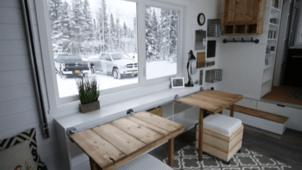 Ana Whites Open Concept Modern Tiny House with Elevator Bed