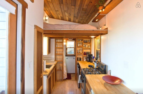 kitchen ladder quartz countertops rustic modern tiny house in portland