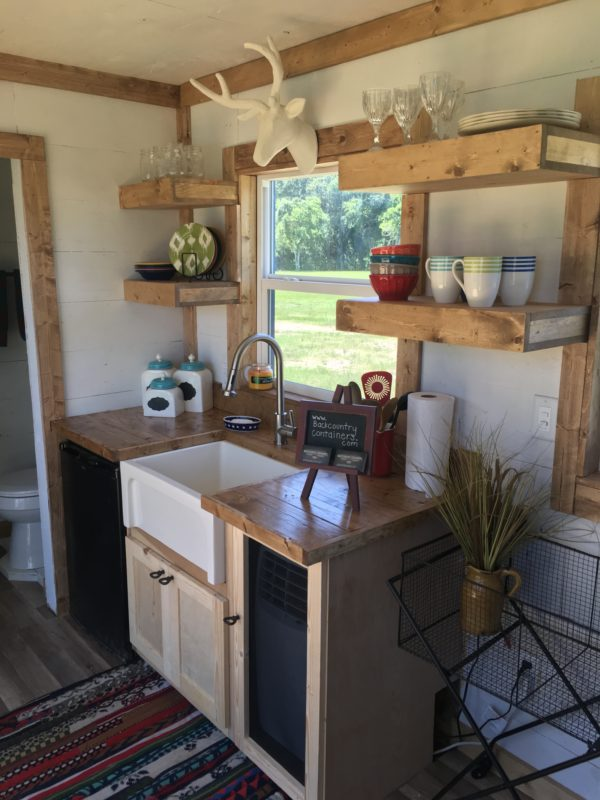 country style kitchen sink wooden countertops rustic retreat shipping container tiny house: $29.9k