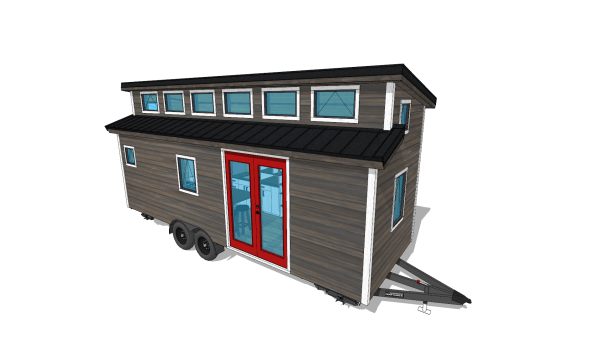 The Cider Box Tiny House Exterior Rendering Style by Tiny Nest Project