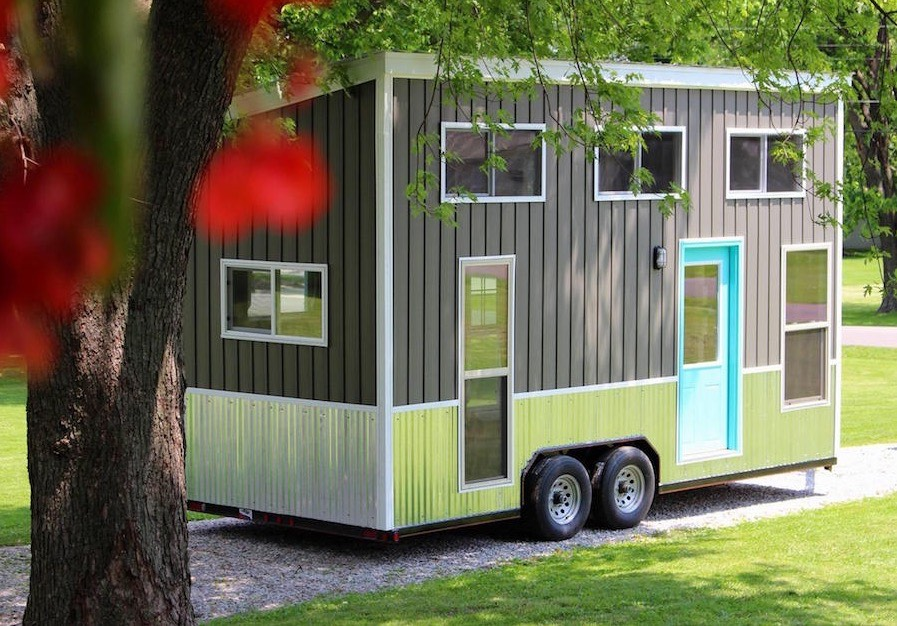 160 sq ft teal chick shack tiny house on wheels for Shack homes