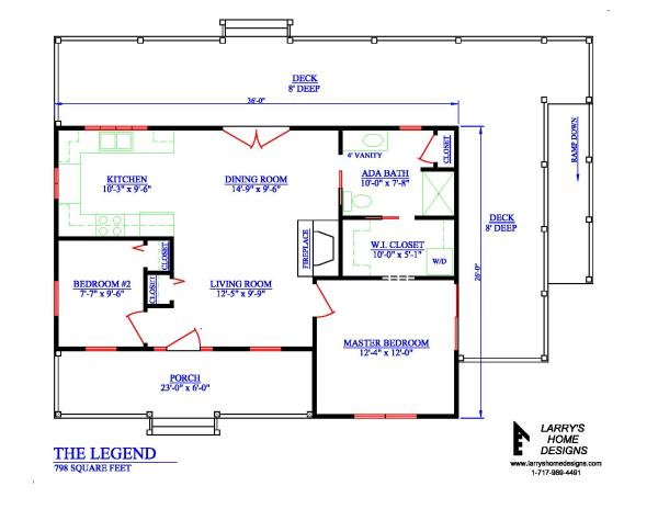 798 sq ft wheelchair accessible small house plans for Accessible house plans