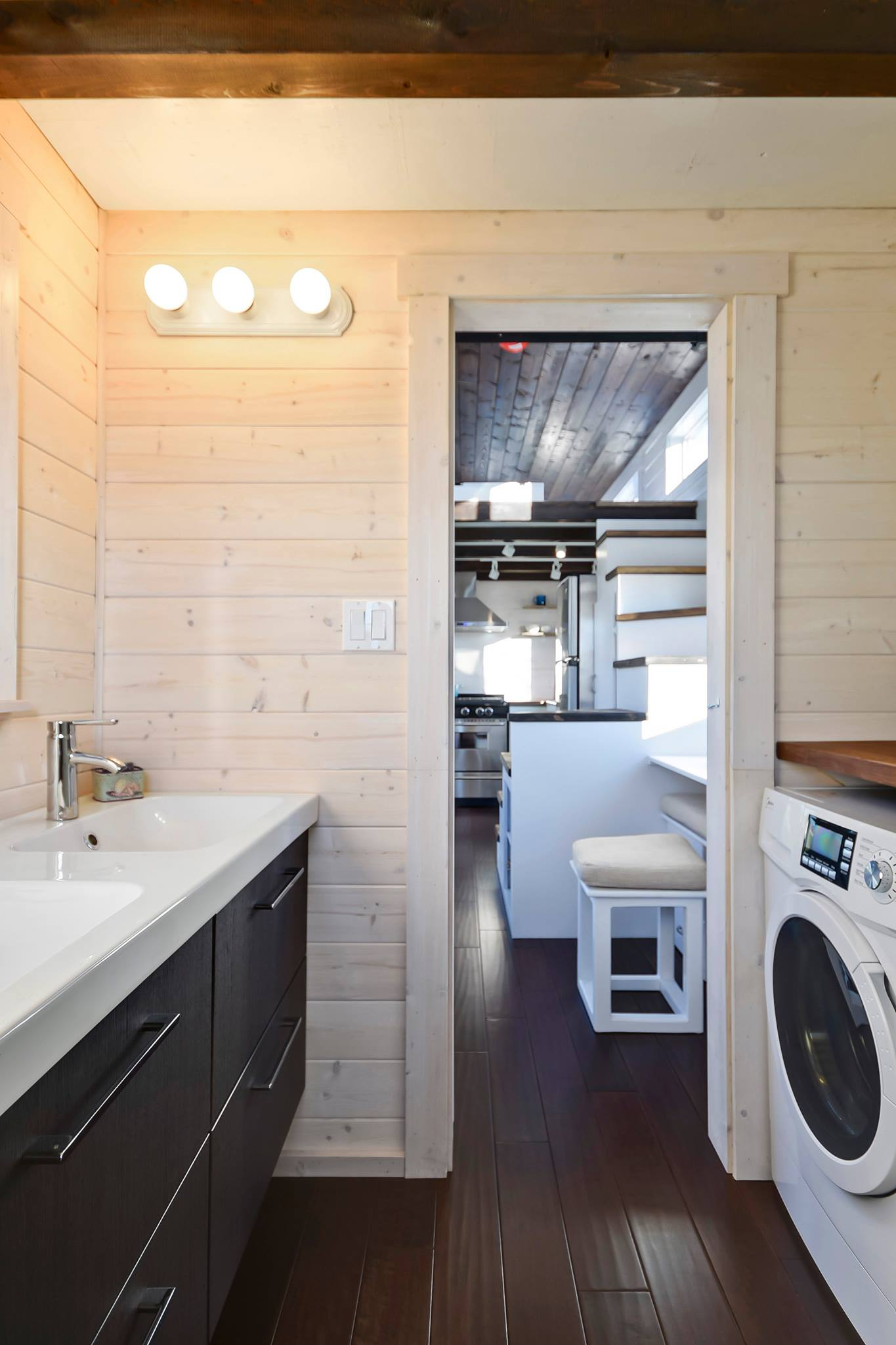 triple sink kitchen desk tiny house on wheels w/ big and double vanity