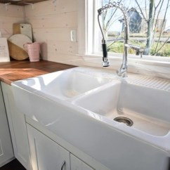 Kitchen Vanity Hanging Lights Over Island Tiny House On Wheels W Big And Double Sink Thow