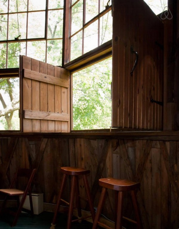 Windows and chairs in Silo Cottage