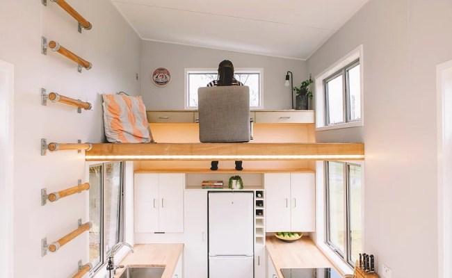Tiny House On Wheels With A Floating Office Study Loft