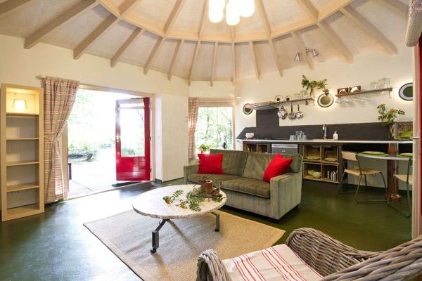 Beautiful inside view of yurt cabin