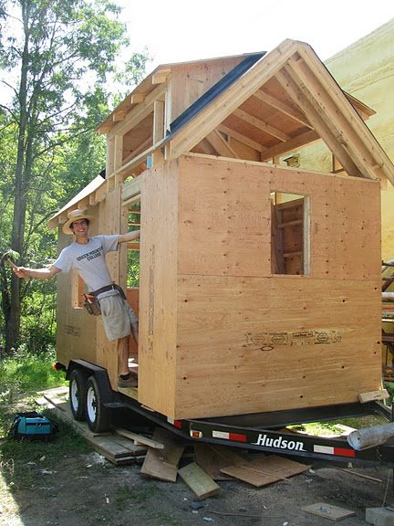 Aldo Lavaggi Finishing Up Sheathing on His Tiny House on a Trailer Design with Solar Power