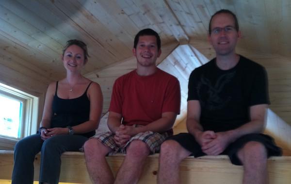 Andrea, Alex and Dan in the Sleeping Loft of Tiny Living Tiny House