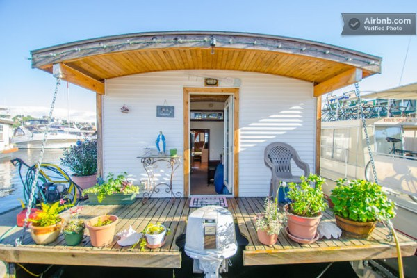 Barge tiny house vacation rental on wheels or on the water for Tiny vacation homes