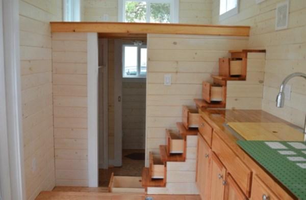 storage stairs up to sleeping loft