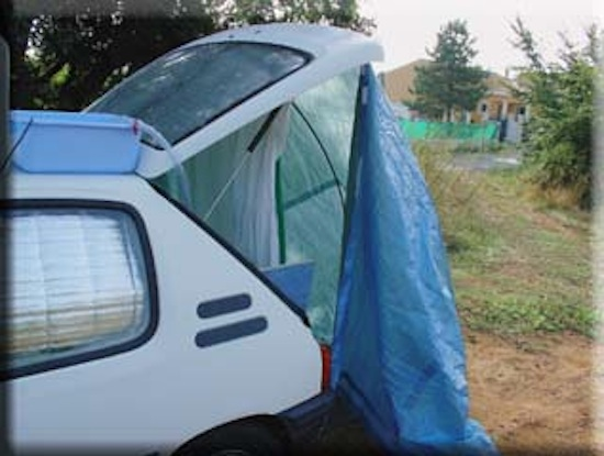 Rear outdoor car shower