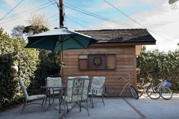 relax outside the cozy cabin in LA