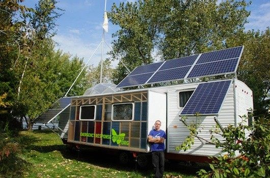 From fema trailer to solar powered studio and home Rv room additions