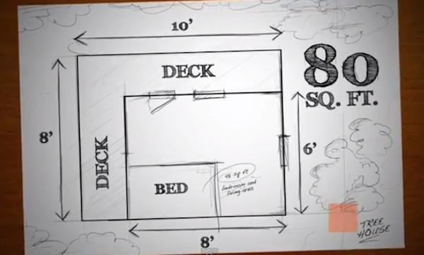 Floor Plan of Barron's 8x10 Treehouse