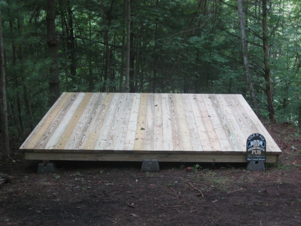 Our tiny house backyard deck. Photo by Laura M. LaVoie