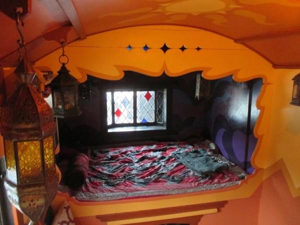 green living room walls orange idea man simplifies by building custom gypsy wagon tiny house
