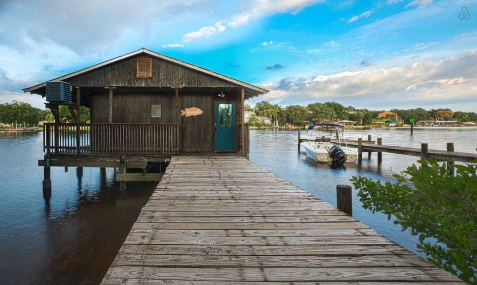 Tiny cabin on a fishing pier for Hillsborough river fishing
