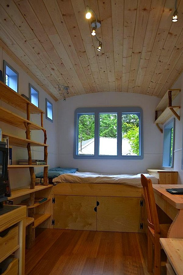Interior of Tiny House on Wheels Serving as Office and Micro Guest House