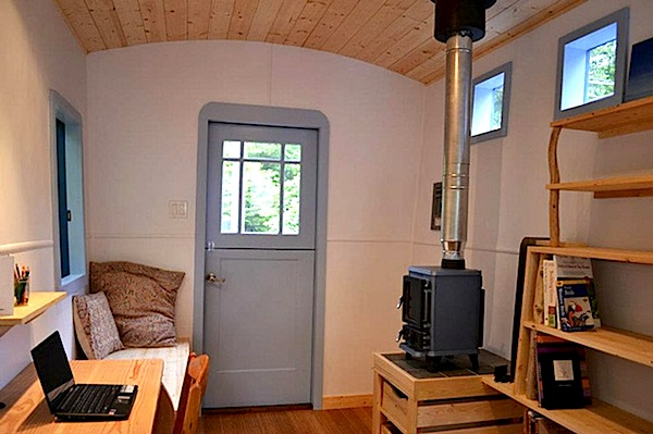 Interior of Tiny Caravan Used as Office and Guest House