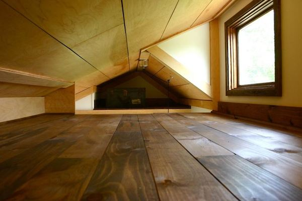 Inside the sleeping loft in the Tall Man's Tiny House