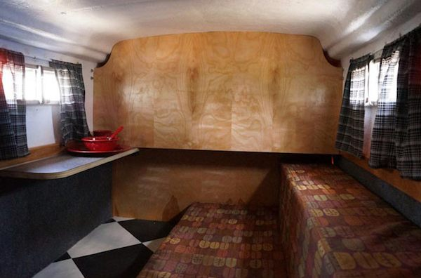 Interior of Tiny Fiberglass Camper that Turns to Boat