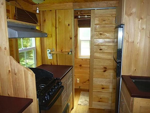 Kitchen Inside a Tiny House on a Trailer