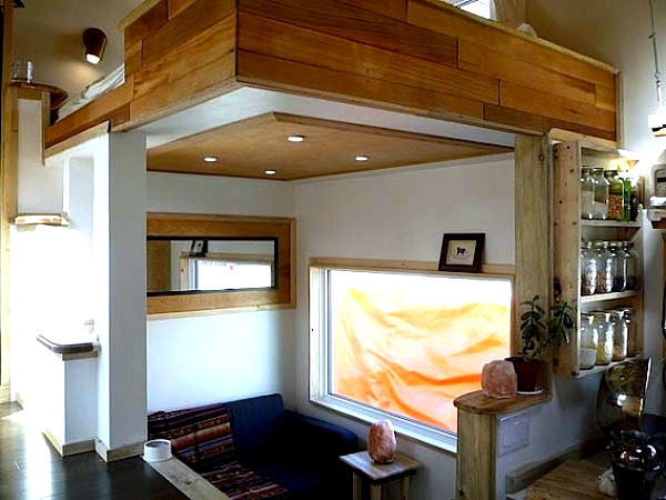Living Area and Upstairs Sleeping Loft in the Leafhouse Tiny Home