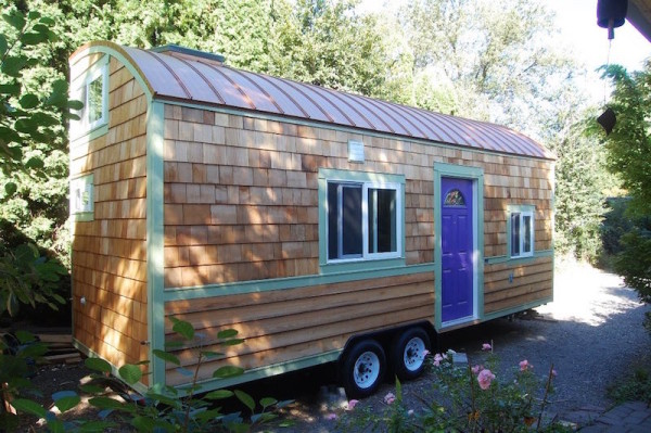 Tiny Houses on Wheels Lilypad Purple Door and Wood Shingles Exterior