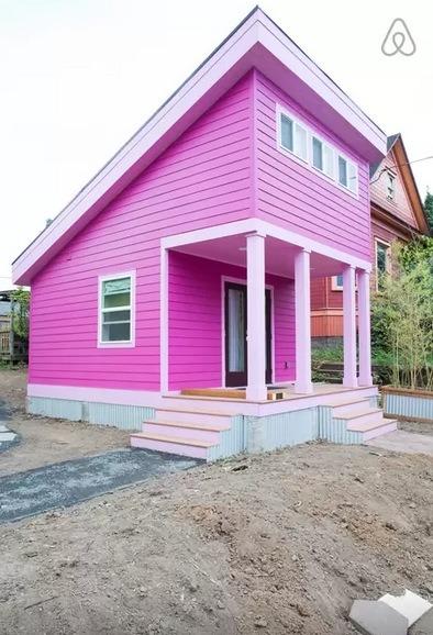 small sofa sleeper leather sofas milton ontario 200 sq. ft. pink tiny house in portland, or