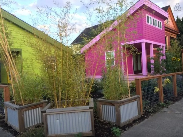 Outside view of 200 Sq. Ft. Pink Tiny House in Portland, OR