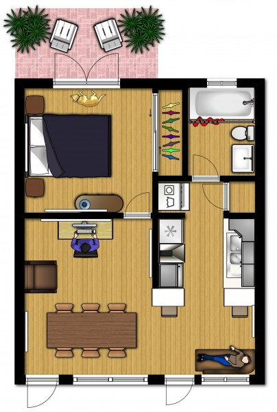 Small Apartment Design for LiveWork 3D Floor Plan And Tour