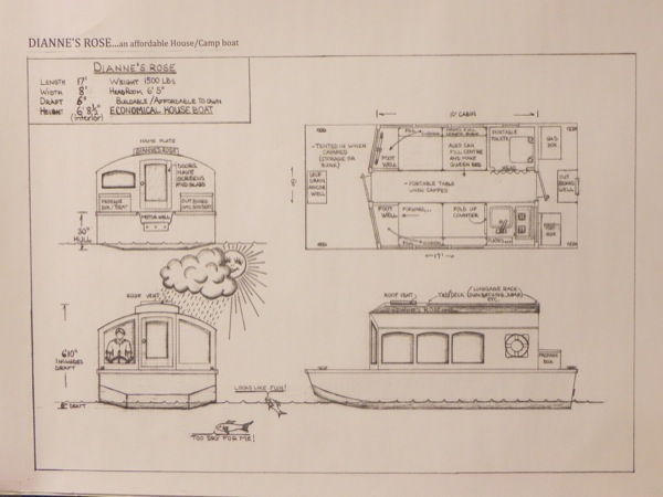 micro boathouse diannes rose 009 - Tiny Houseboat Plans